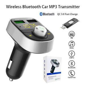 HY82-QC3-0-Bluetooth-Voiture-Transmetteur-FM-Kit-MP3-Sans-fil-USB-Chargeur-Mains
