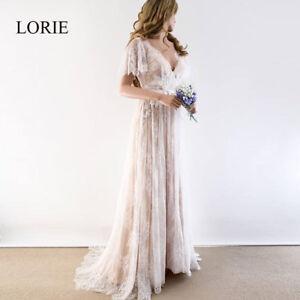 Details About Boho Wedding Dress 2019 V Neck Cap Sleeve Lace Beach Wedding Gown