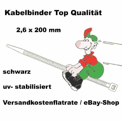 500 Stk Kabelbinder schwarz 200 x 2,6 mm   Top Ware Neu