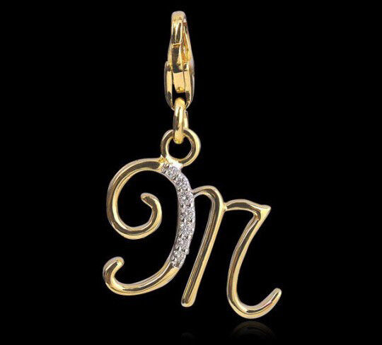 0.35ct DIAMOND 14k SOLID YELLOW gold M INITIAL CHARM AVAILABLE IN ALL INITIALS