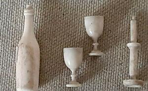 Rares objets miniatures ( bouteiile , verres , bougeoir ( compagnonage ( XIXe )
