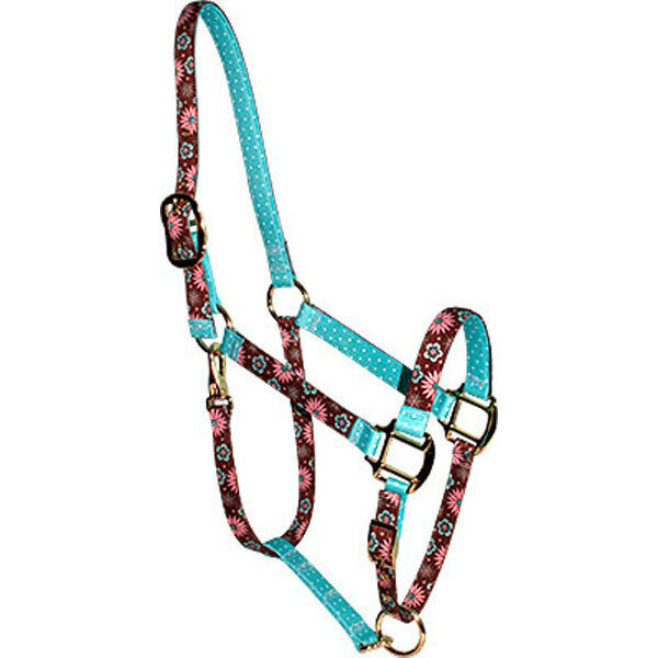 Pink & Teal Flowers w Teal Polka Dots Accent Fashion Horse Halter