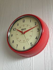 Details about RETRO VINTAGE SHABBY ROUND WALL CLOCK OFFICE KITCHEN CLOCK  RED BLACK CREAM
