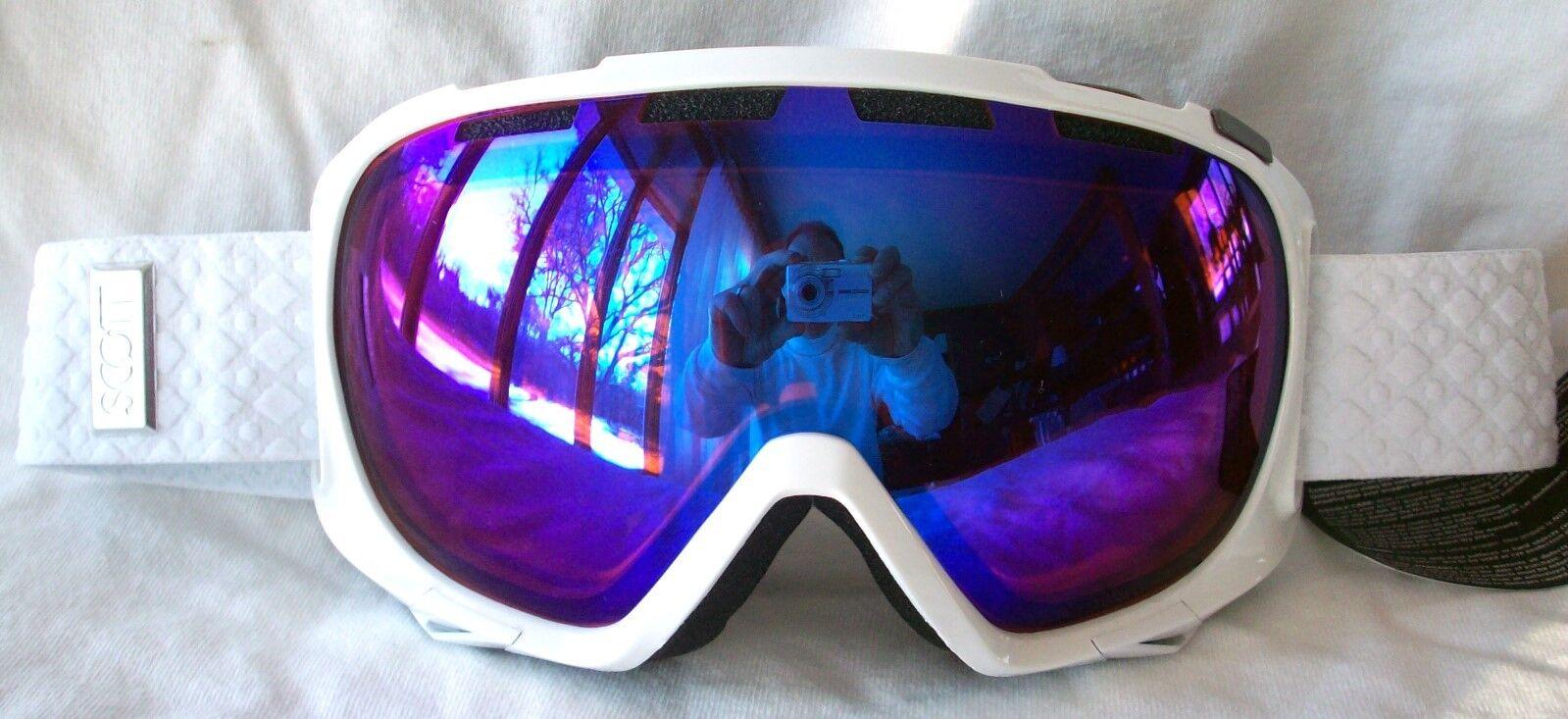 45457783b6a1 NEW 110 Scott FIX Mens White Winter Snow Ski smith bluee lens ...
