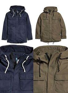 4bf281432fd5b Détails sur H&M à capuche pour homme manteau parka avec une capuche avec  cordon de serrage Bleu Marine Kaki Taille XS-XL- afficher le titre ...