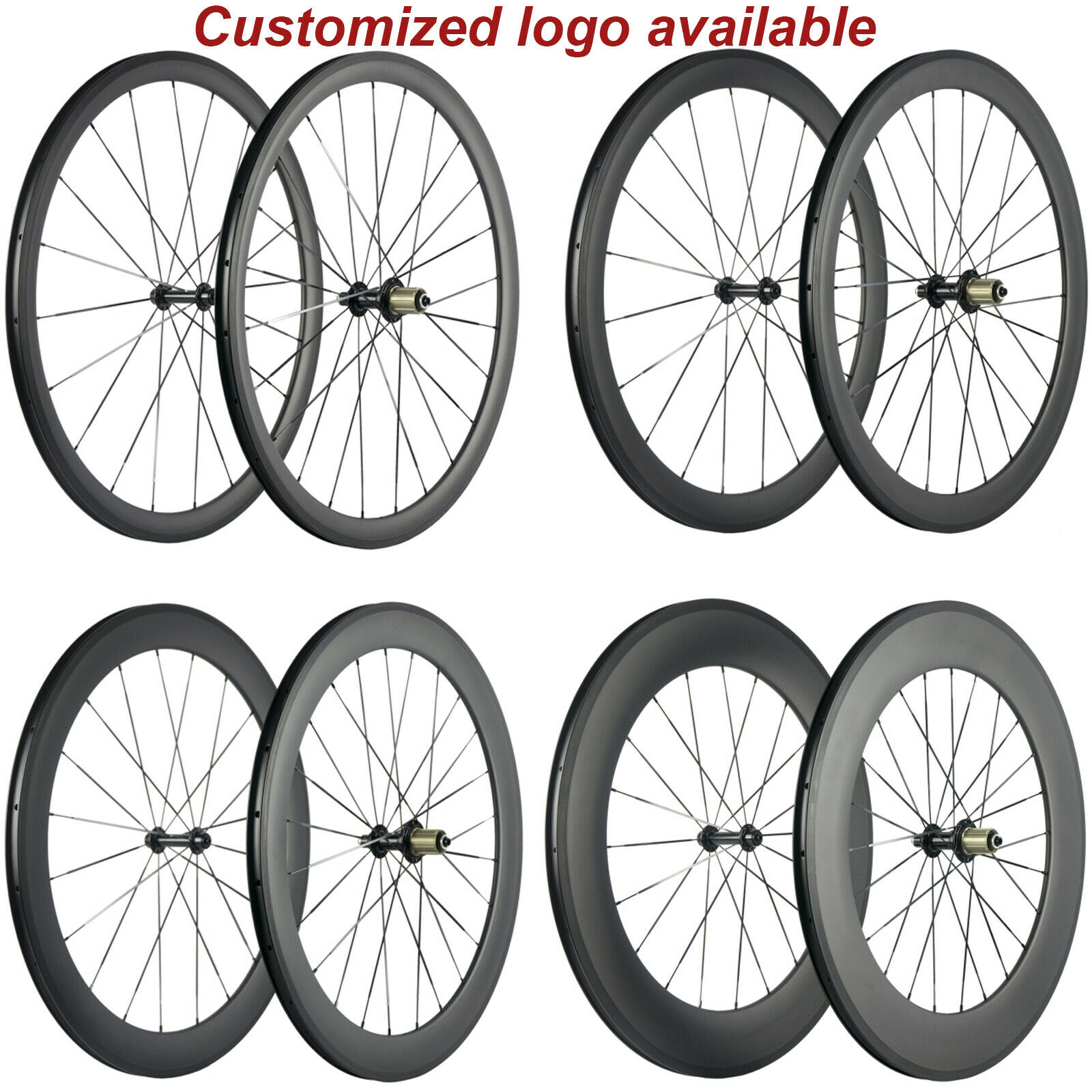 Factory Sales 38 50 60 88mm Carbon Wheels Road Bike Carbon Wheelset Basalt Brake