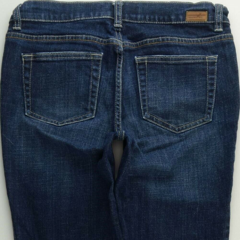 London Jeans Straight Leg 8 Women's Stretch Dark bluee Wash Slim Low Rise C252P