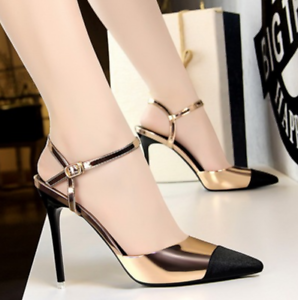 Womens-stilettos-pointed-toe-high-heels-sandals-shoes-ankle-strap-buckle-chic