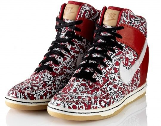 Nike Liberty of London Dunk Sky High LIB Lagos US 9.5 (w) 41 Wedge hi red