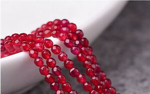 """4mm Faceted Brazilian rose Red Ruby Gems Loose Bead 15/"""""""