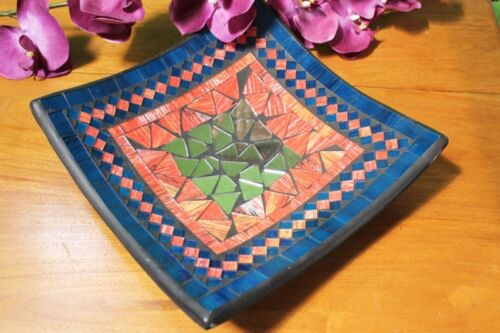 30 cm Dekorative Schale Obstschale Dekoschale aus Terrakotta und Glasmosaik
