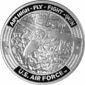 US-Air-Force-F-15-Fighter-Jet-1-oz-Silver-Round-Guy-Harvey-999-Pure-IN-CAPSULE