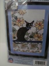 Yellow Floral Cat Counted Cross Stitch Kit - 5 X7 14 Count