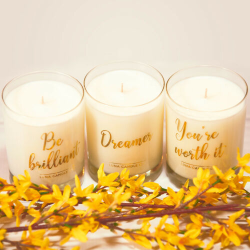 """Luna Candle Co. Natural Soy Wax /""""Dreamer/"""" Geranium Scented Luxurious Candle"""