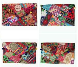 Indian Handmade Purse Vintage Patchwork Embroidery Ladies Envelope Clutch Bag