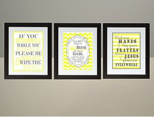 Image Is Loading Yellow Gray Chevron Bathroom Rules Wall Art Print