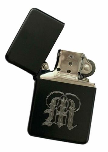 Gothic Initial `M` Black Colour Star Petrol Lighter ENGRAVED FREE T397