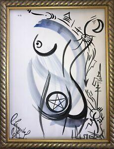 Malerei-PAINTING-erotic-EROTIK-akt-nu-art-zeichnung-pentagramm-hexe-witch-dark-5