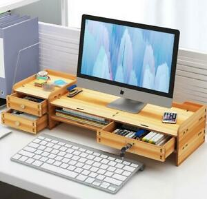 DIY Bamboo Wood Office Computer Monitor Stand Riser with ...