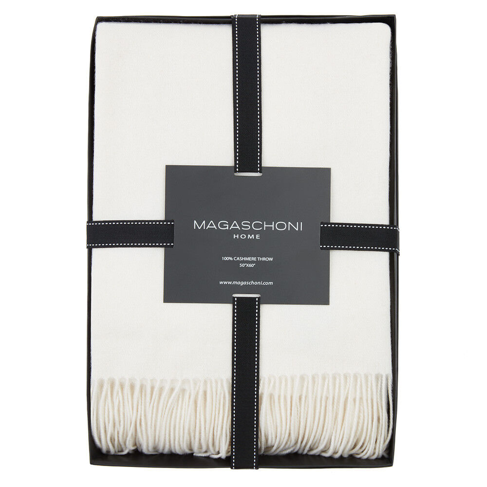 NEW MAGASCHONI 100% Cashmere Tassled Throw Vintage White New in Box 50  x 60