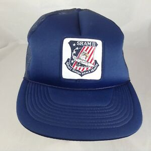 152c8049204 SRAM II 2 Short Range Attack Missle Hat Vintage Patch Cap Hat Navy ...
