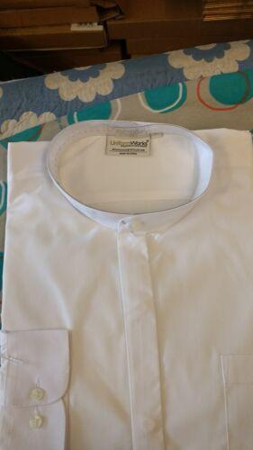 White UNIFORM WORKS BAR WAITERS WAITRESS LONG SLEEVED MANDARIN COLLAR SHIRT XL