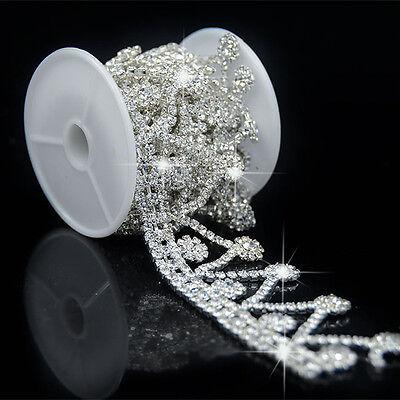 Clear Crystal Glass Rhinestone Tassels Chain Costume Trim Sewing Applique 1 Yard