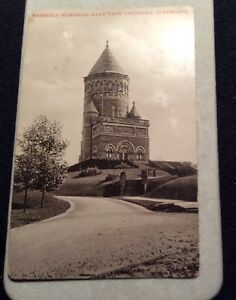 Early-20th-Century-Sepia-Postcard-Garfield-Memorial-Lake-View-Cemetery-Cleveland