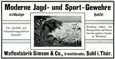 Obedient Hunting Rifle Simson From Suhl In Germany 1908 Ad Safari Lion Advertising Merchandise & Memorabilia