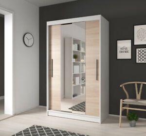 Kleiner Kleiderschrank Mit Spiegel Schwebeturen Weiss Sonoma 120 Cm
