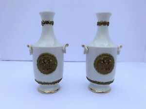 Set of 2 VTG Arnart 1959 White Porcelain Gold Accented Bone China Bud Vases