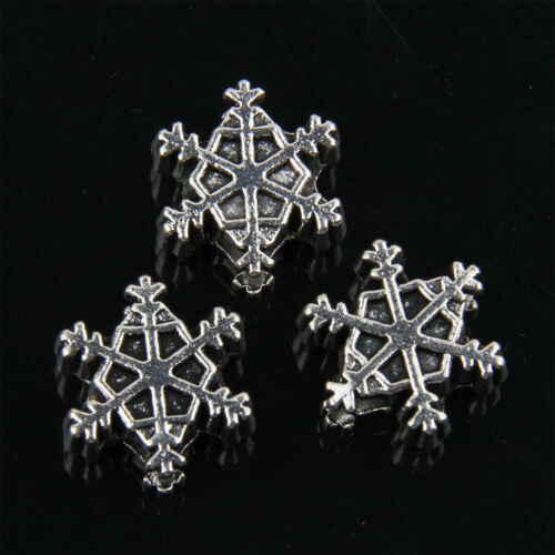 40pcs Tibetan Silver Snowflake Large Hole Bead For Jewelry Making 13mm ABF71