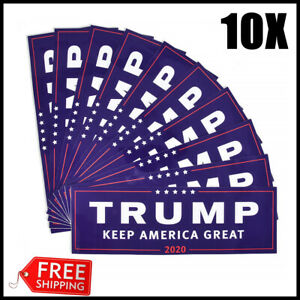 10X-Donald-Trump-for-President-Keep-America-Great-2020-Bumper-Sticker-Blue