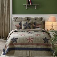 Lasting Impressions Vincent Country Style Khaki Red & Navy Blue Bed Quilt