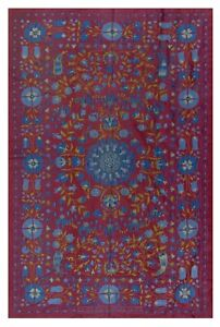 4.7x6.8 Ft Central Asian Suzani Textile. Embroidered Cotton & Silk Bed Cover