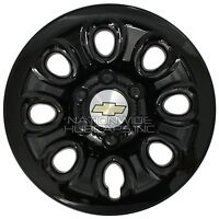 Set Of 4 Chevy 6 Lug 17 Black Wheel Skins Full Rim Covers Center Hub Caps
