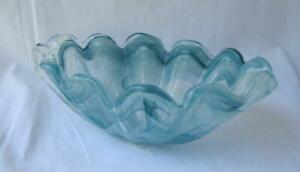 Genuine-Art-Glass-Oval-Bowl-Light-Blue-by-Tammaro-Made-in-Italy-Murano-No-371