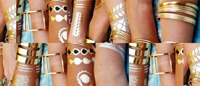 2 Bogen Gold Silber Tattoo Metallic Temporary Armband Kette Body Sexy Henna NEU
