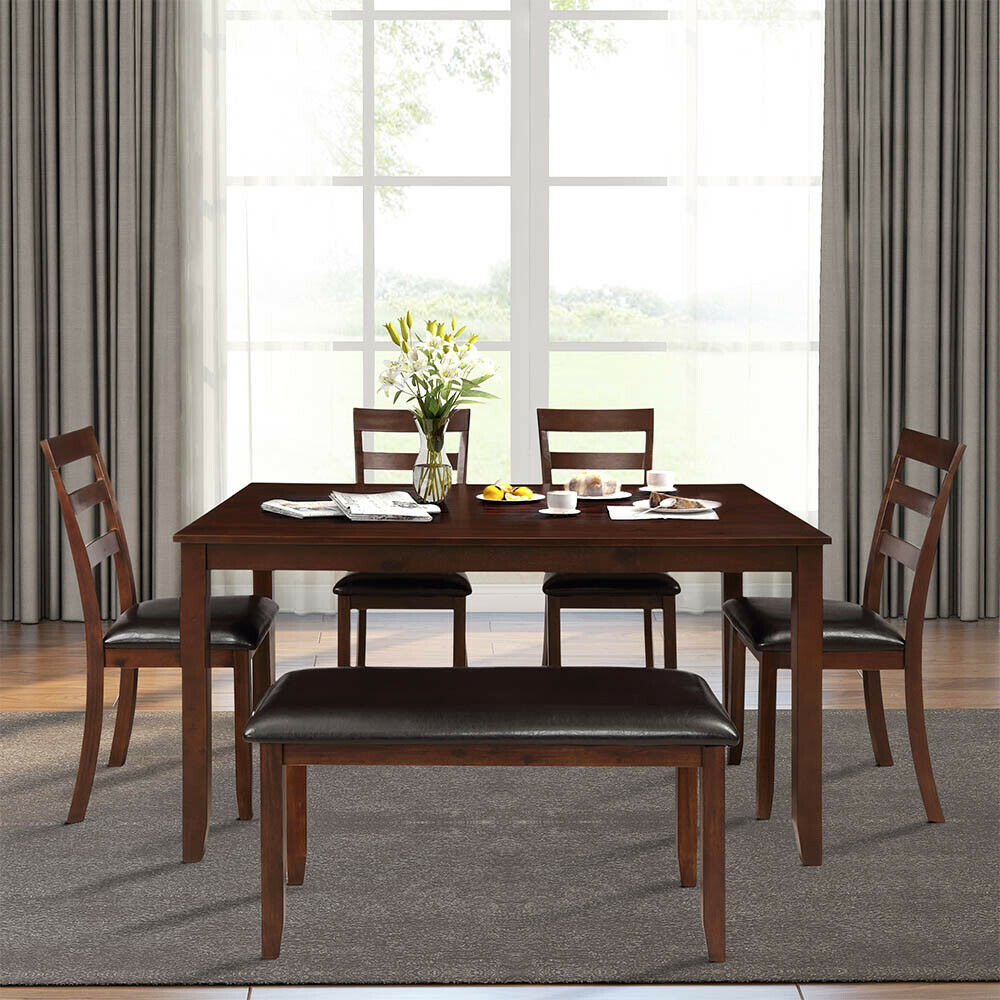 10 Pcs Dining Room Table and 10 Chairs Set Wooden Kitchen Dinner Party  Furniture