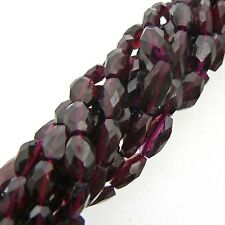 "Garnet Faceted Oval Beads 15"" Strand Semi Precious Gemstone"
