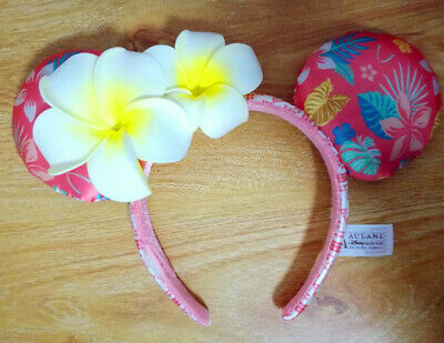 Disney Aulani Ko Olina Hawaii Minnie Mickey Ears Plumeria Flower Jewels Headband