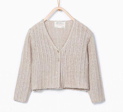 Zara GIRL/'S V-NECK CARDIGAN 9-10 ANNI Colore Pietra RRP £ 17.99