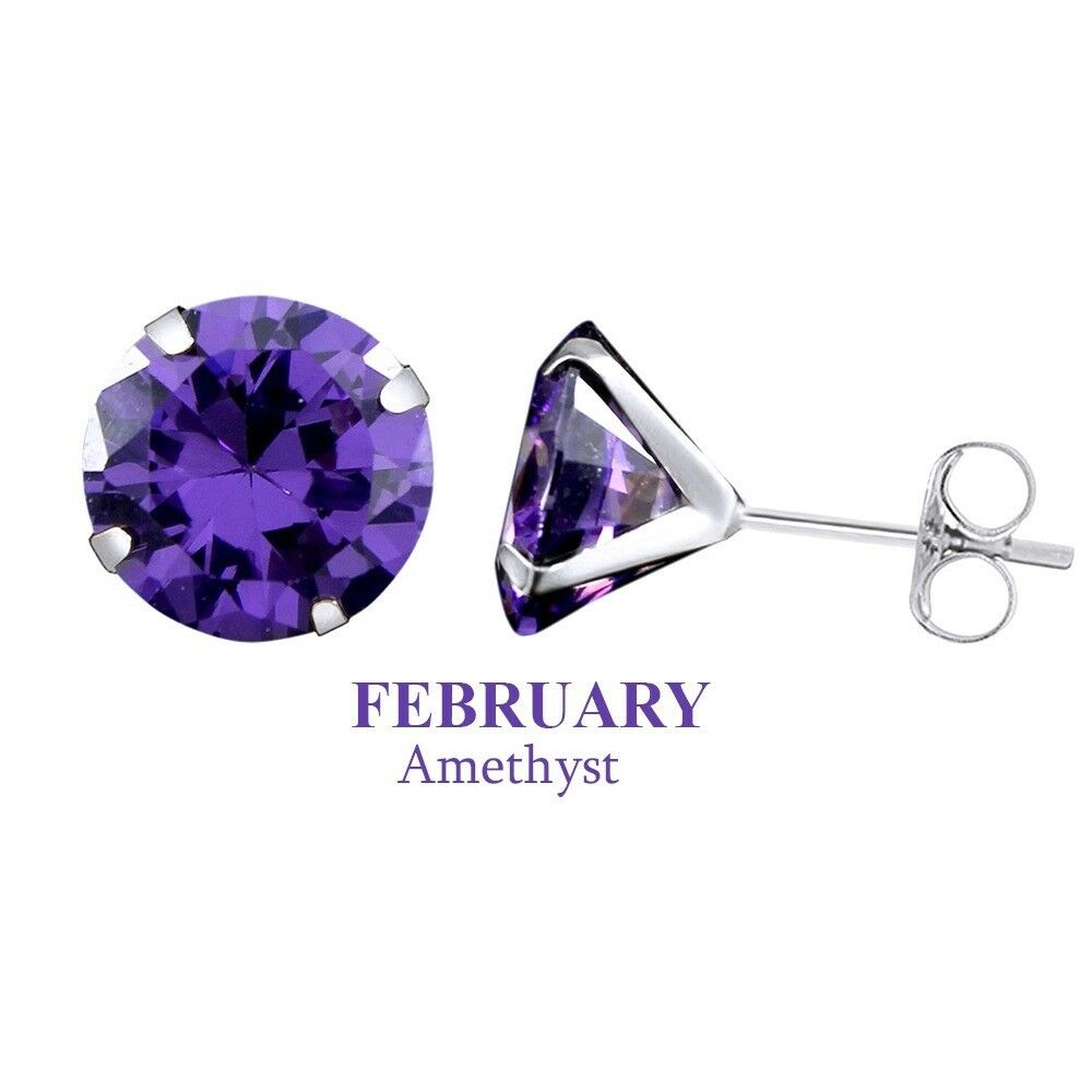 Solid 10K white gold 6mm Round Amethyst February Birthstone Stud Earrings