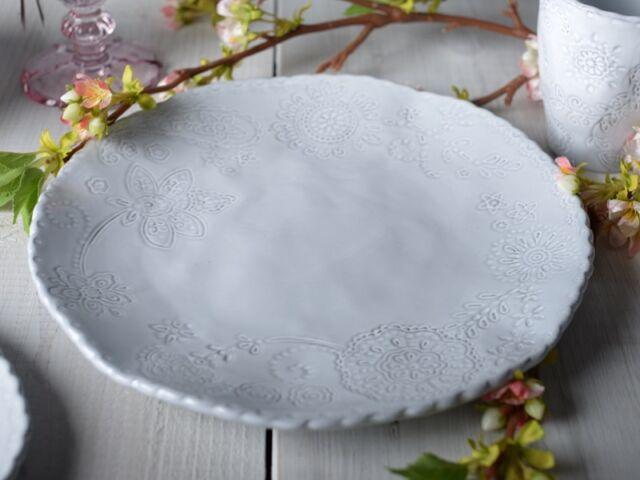 MIKASA Hush GREY EMBOSSED Stoneware DINNER PLATE