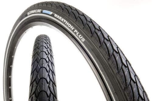 "26"" x 2.0"" Schwalbe Marathon Plus Slick MTB City Commute Bike Tyre"