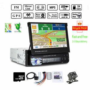 "7"" Single 1 DIN Car Radio Stereo Bluetooth Mp5 Player GPS SAT NAV EU Maps Camera"