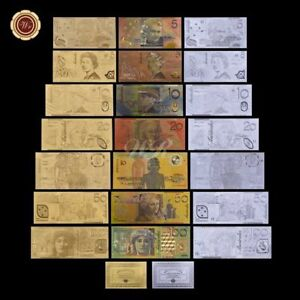 WR-999-24K-GOLD-SILVER-Colored-Australia-Latest-Bank-Note-Set-Rare-Banknote-Gift