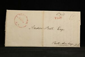 New Jersey: Freehold 1829 Stampless Cover, Red CDS & PAID, Monmouth Co