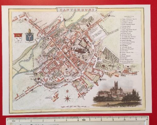 """England Old Antique colour map of Canterbury early 1800/'s 12/"""" x 9/"""" Reprint"""