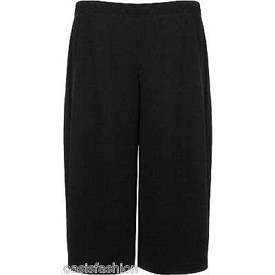 Women's Elasticated 70's Wide Leg Culottes Knee Length Palazzo Plus Size 8-30